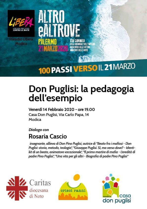 Un appuntamento importante, domani alla 'Casa don Puglisi' di Modica. Sarà con noi Rosaria Cascio, insegnante e allieva di don Puglisi. Vi aspettiamo!